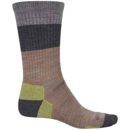 Point6 Block Stripe Hiking Socks - Merino Wool, Crew (For Men and Women) in Taupe - Closeouts