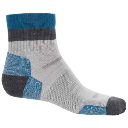 Point6 Block Stripe Hiking Socks - Merino Wool, Quarter Crew (For Men and Women) in Silver - Closeouts