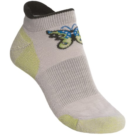 Point6 Butterfly Socks - Merino Wool Blend, Below the Ankle (For Women) in Silver/Lime