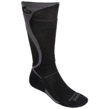 Point6 Carve Ski Socks - Merino Wool, Over-the-Calf (For Men and Women) in Black/Grey - 2nds