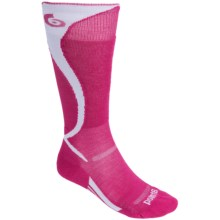 Point6 Carve Ski Socks - Merino Wool, Over-the-Calf (For Men and Women) in Lipstick/White - 2nds