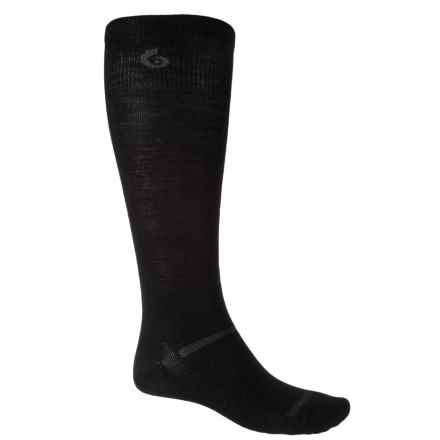 Point6 Commander No-Cushion Socks - Merino Wool, Over the Calf (For Men and Women) in Black - Closeouts
