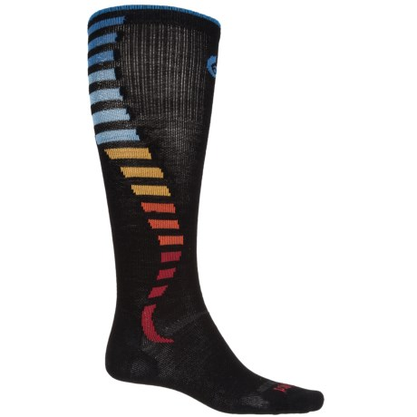 Point6 Compression Wave Socks - Merino Wool, Over the Calf (For Men and Women) in Black/Rainbow