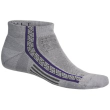 Point6 Extra Light Running Socks - Merino Wool, Ankle (For Men and Women) in Silver/Purple - 2nds