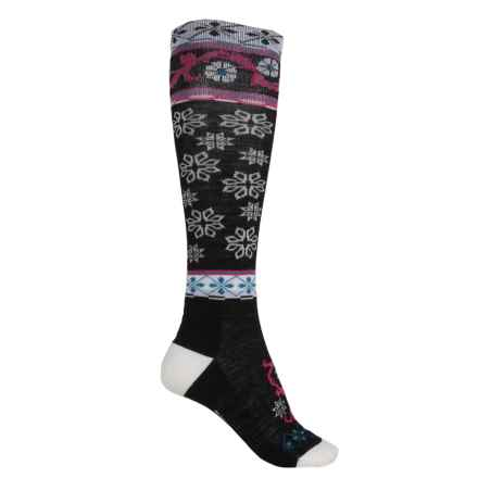 Point6 Extra-Light Socks - Merino Wool, Over the Calf (For Men and Women) in Black/White - 2nds