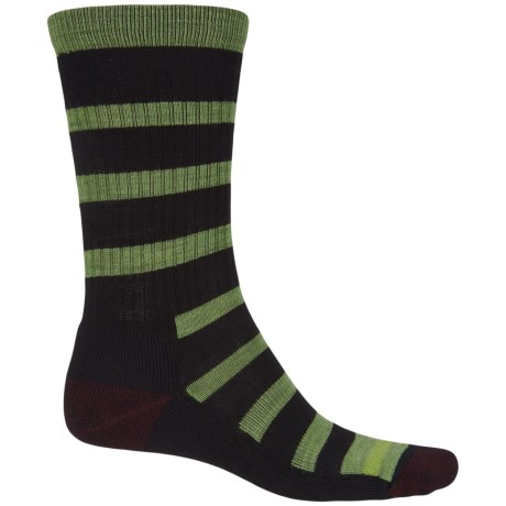 Point6 Firecracker Socks - Merino Wool, Crew (For Men and Women) in Black/Lime