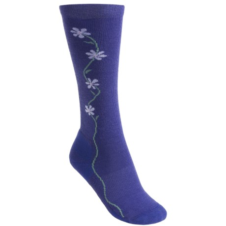 Point6 Fleur D'vine Socks - Merino Wool, Over-the-Calf (For Women) in Blue/Violet