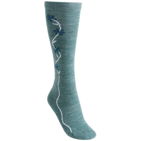 Point6 Fleur D'vine Socks - Merino Wool, Over-the-Calf (For Women) in Ocean