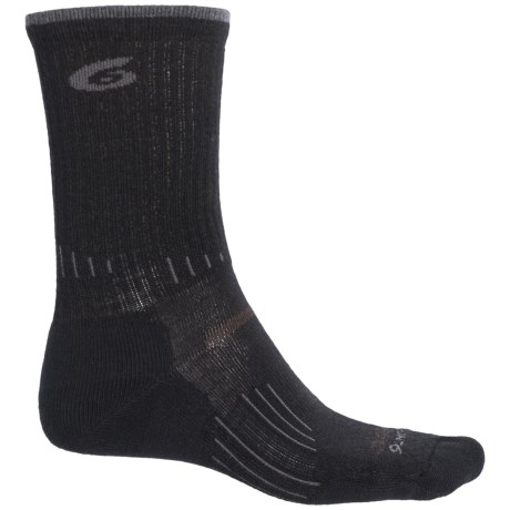 Point6 Hiking Tech Light Socks - Merino Wool, Crew (For Men and Women) in Black