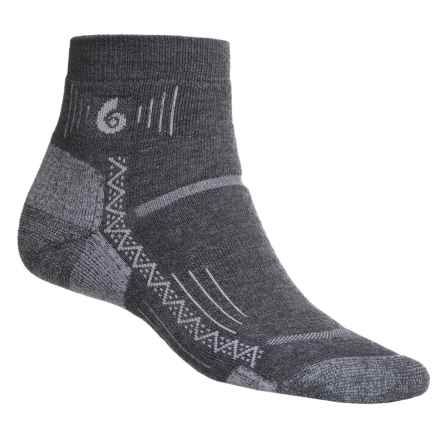 Point6 Hiking Tech Mini Crew Socks - Merino Wool Blend, Quarter Crew (For Men and Women) in Grey - 2nds