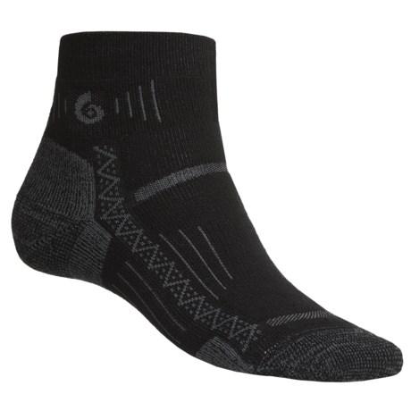Point6 Hiking Tech Socks - Merino Wool Blend, Midweight, Mini Crew (For Men and Women) in Black