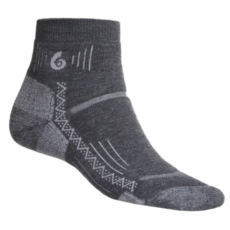 Point6 Hiking Tech Socks - Merino Wool Blend, Midweight, Mini Crew (For Men and Women) in Grey