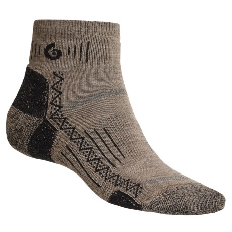 Point6 Hiking Tech Socks - Merino Wool Blend, Midweight, Mini Crew (For Men and Women) in Taupe