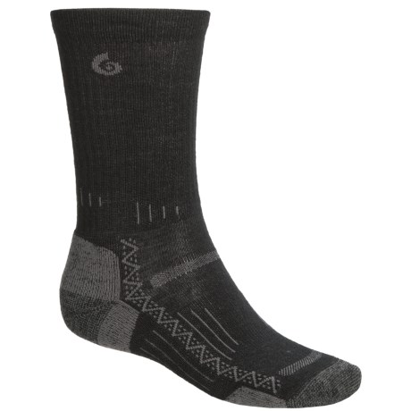 Point6 Hiking Tech Socks - Merino Wool, Crew (For Men and Women) in Black