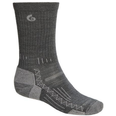 Point6 Hiking Tech Socks - Merino Wool, Crew (For Men and Women) in Grey