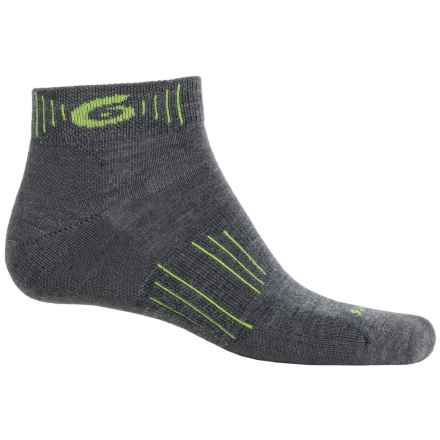 Point6 Hiking Tech Socks - Merino Wool, Quarter-Crew (For Men and Women) in Gray/Super Lime - Closeouts