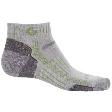 Point6 Hiking Tech Socks - Merino Wool, Quarter-Crew (For Men and Women) in Silver/Lime - Closeouts