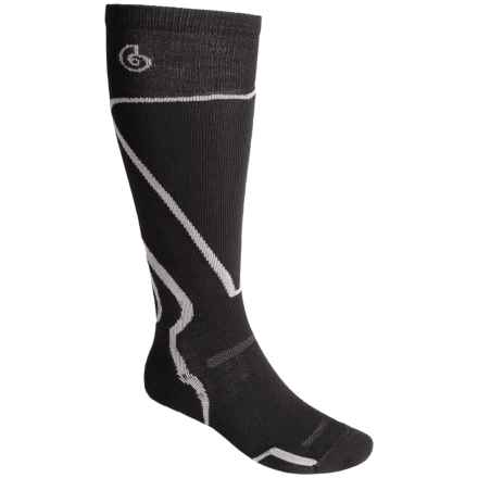Point6 Light Cushion Ski Socks - Merino Wool, Over the Calf (For Men and Women) in Black - Closeouts
