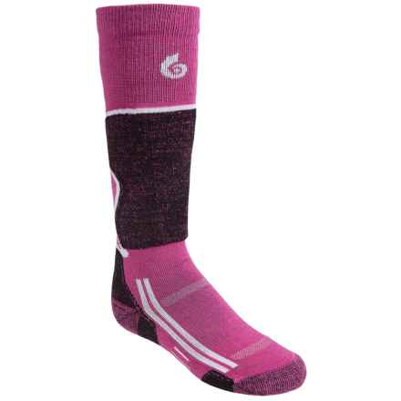 Point6 Lightweight Ski Socks - Merino Wool, Over-the-Calf (For Little and Big Kids) in Fuchsia - 2nds