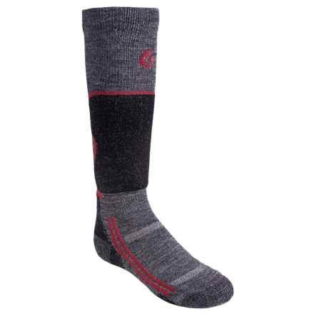 Point6 Lightweight Ski Socks - Merino Wool, Over-the-Calf (For Little and Big Kids) in Grey - 2nds