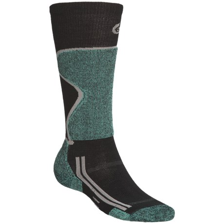 Point6 Lightweight Ski Socks - Merino Wool, Over-the-Calf (For Men and Women) in Grey/Black