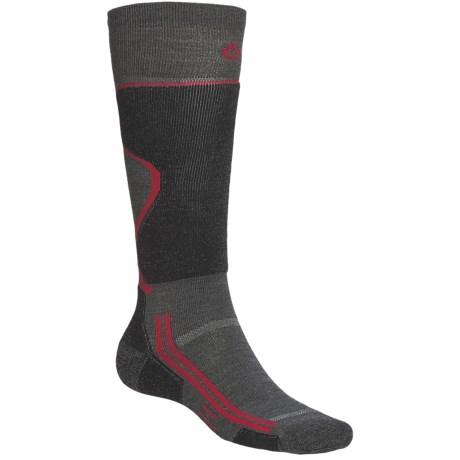 Point6 Lightweight Ski Socks - Merino Wool, Over-the-Calf (For Men and Women) in Black/Silver