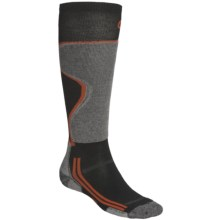 Point6 Lightweight Ski Socks - Merino Wool, Over-the-Calf (For Men and Women) in Grey/Black - 2nds