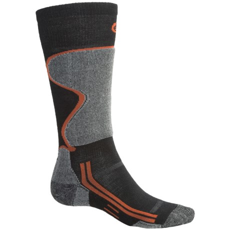 Point6 Lightweight Ski Socks - Over-the-Calf (For Men and Women) in Black/Silver