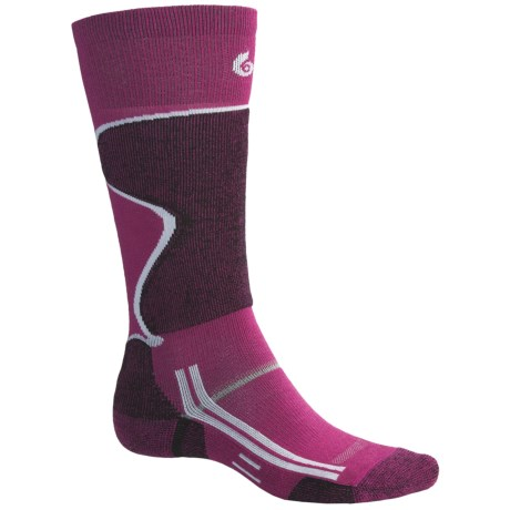 Point6 Lightweight Ski Socks - Over-the-Calf (For Men and Women) in Fuchsia/Black