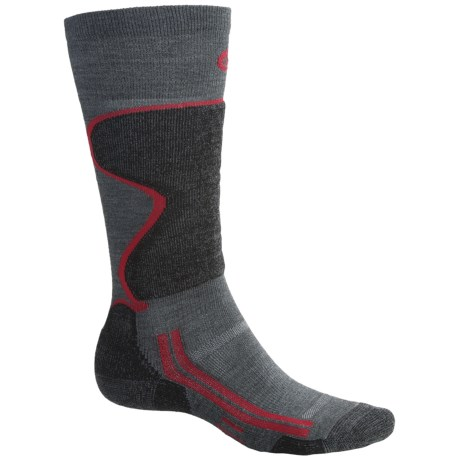 Point6 Lightweight Ski Socks - Over-the-Calf (For Men and Women) in Grey/Black