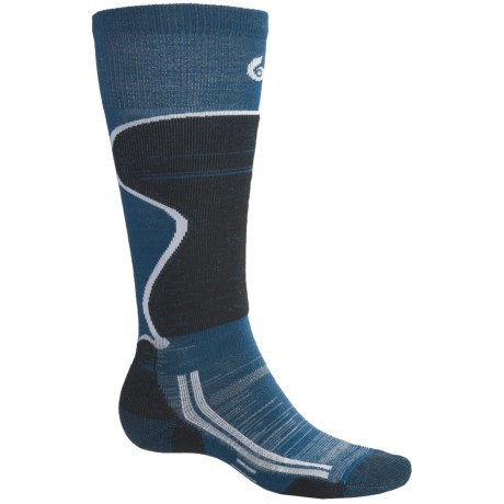 Point6 Lightweight Ski Socks - Over-the-Calf (For Men and Women) in Teal/Black