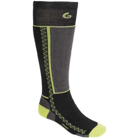 Point6 Medium Snowboard Socks - Merino Wool, Over-the-Calf (For Men and Women) in Black/Bright Lime