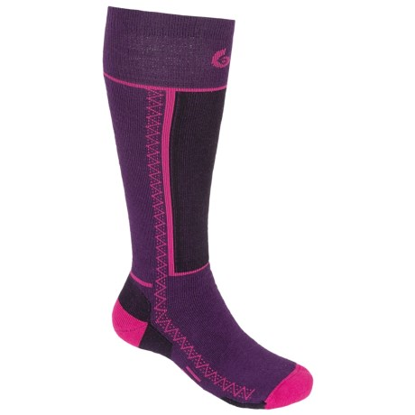 Point6 Medium Snowboard Socks - Merino Wool, Over-the-Calf (For Men and Women) in Imperial/Lipstick
