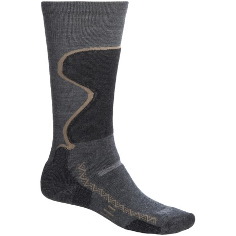 Point6 Medium Weight Snowsport Socks - Merino Wool, Over-the-Calf (For Men and Women) in Grey