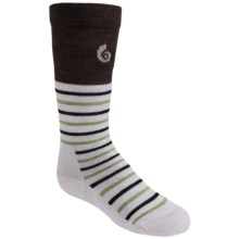 Point6 Merino Wool Stripe Ski Socks - Lightweight, Over-the-Calf (For Little and Big Kids) in Silver - 2nds