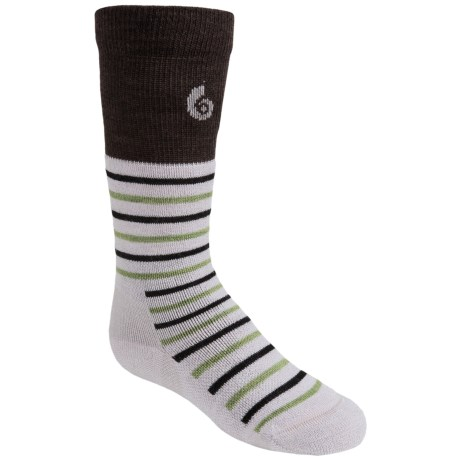 Point6 Merino Wool Stripe Ski Socks - Lightweight, Over-the-Calf (For Little and Big Kids) in Silver