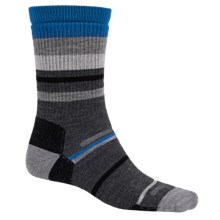 Point6 Mixed Stripe Medium Crew Socks - Merino Wool, Midweight (For Men and Women) in Gray - 2nds