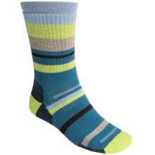 Point6 Mixed Stripe Medium Crew Socks - Merino Wool, Midweight (For Men and Women) in Teal - 2nds