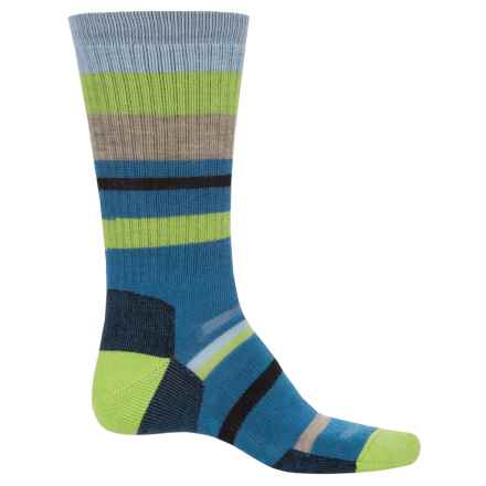 Point6 Mixed Stripe Midweight Socks - Merino Wool, Crew (For Men and Women) in Teal - Closeouts
