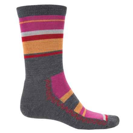 Point6 Multi-Stripe Lightweight Socks - Merino Wool, Crew (For Men and Women) in Gray - Closeouts