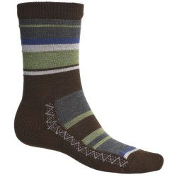 Point6 Multi Stripe Socks - Merino Wool Blend, Crew (For Men and Women) in Chestnut