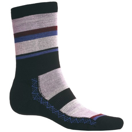 Point6 Multi Stripe Socks - Merino Wool Blend, Crew (For Men and Women) in Lavender