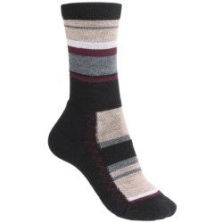 Point6 Multi-Stripe Socks - Merino Wool, Lightweight, Crew (For Women) in Chestnut