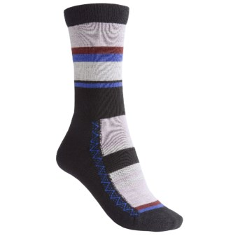 Point6 Multi-Stripe Socks - Merino Wool, Lightweight, Crew (For Women) in Lavender