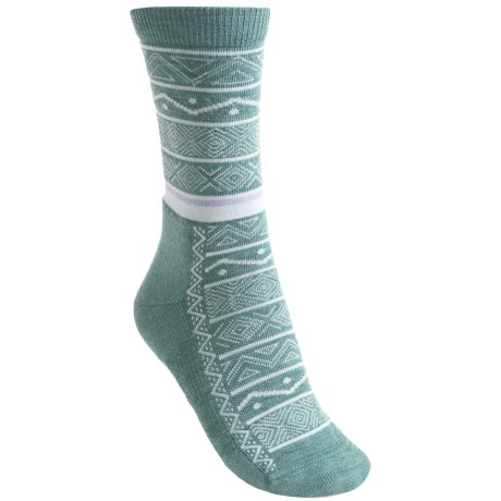 Point6 Nordic Stripe Light Socks - Merino Wool, 3/4-Crew (For Women) in Black
