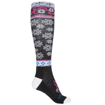 Point6 Ornament Extra-Light Socks - Merino Wool, Over the Calf (For Women) in Black - Closeouts
