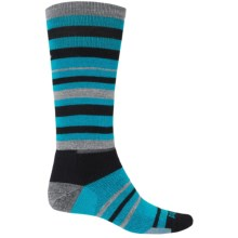 Point6 Park Ski Socks - Merino Wool, Over-the-Calf (For Men and Women) in Black/Turquoise - 2nds