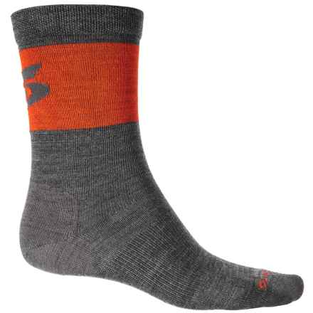 Point6 Pop Top Ultralight Cycling Socks - Merino Wool, Crew (For Men and Women) in Gray/Coral - Closeouts