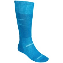 Point6 Pro Starburst Lightweight Ski Socks - Over-the-Calf (For Men and Women) in Turquoise/White - 2nds