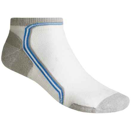Point6 Running Flash Extra-Light Mini Crew Socks - Merino Wool, Quarter Crew (For Men and Women) in White/Silver - 2nds